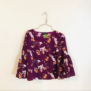 NWT Purple Floral Bell Sleeve Blouse